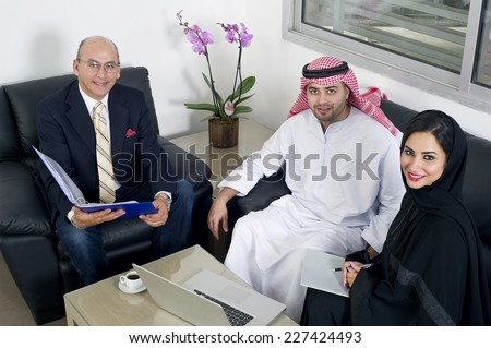 Business Meeting in office, Arabian business people meeting with Foreigners in office  - stock photo