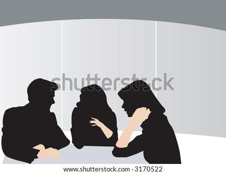 Business Meeting Man Women Gossiping - stock photo