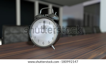 business meeting room interior with alarm clocks on the tabletop - stock photo