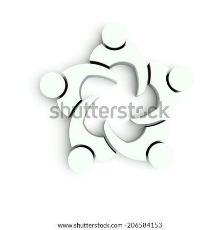 Business Meeting Team 5 - 3D  white render - stock photo