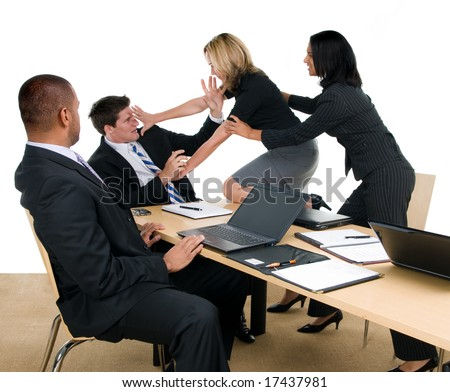 Business meeting turns into fight - stock photo