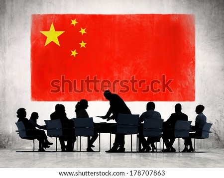 Business Meeting with Chinese Flag - stock photo