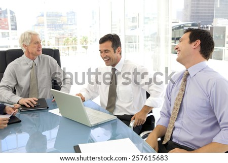 Business Meeting with men only - stock photo