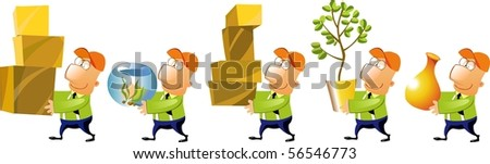 Business men carrying different objects. - stock photo