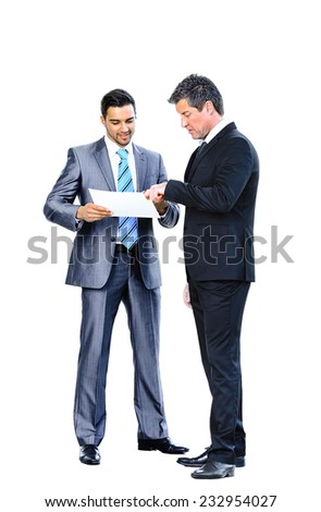 Business men discussing together isolated on white - stock photo