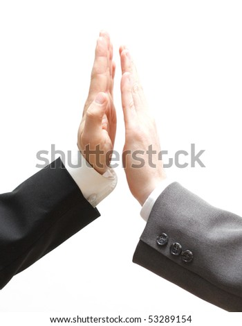 Business men doing a high five - stock photo