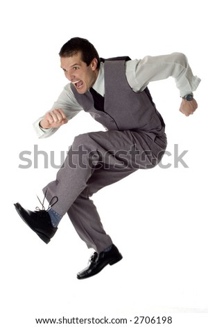 business men jumping on white - success concept - stock photo