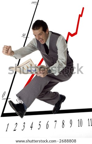 business men jumping with newspaper in hands on white- success concept - stock photo