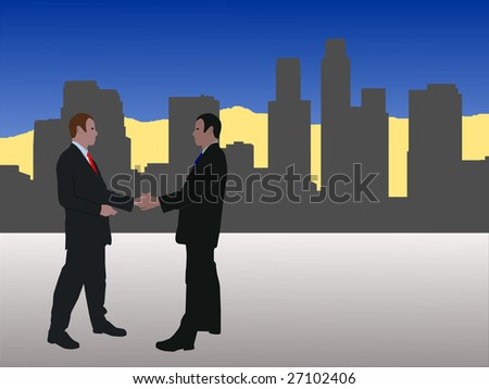 business men meeting with handshake with Los Angeles skyline JPEG - stock photo