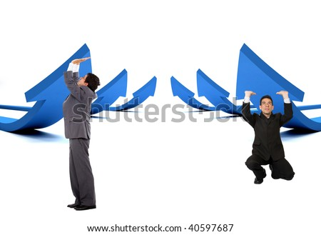 Business men pushing arrows to go up - isolated over white - stock photo