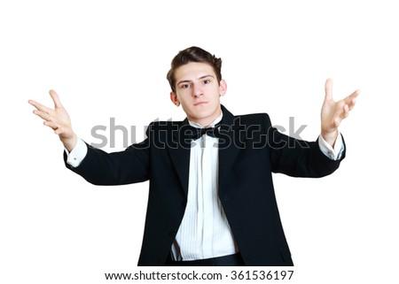 business men shrugging and explaining - stock photo