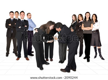 business men team on the left and women on the right, in the middle a mixed team with their heads together - stock photo