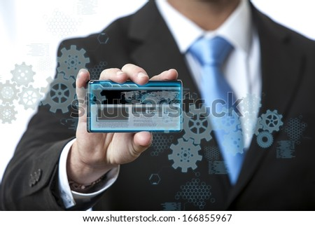 Business men touching a futuristic touchscreen interface - technology concept  - stock photo