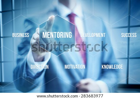 Business mentoring concept, businessman selecting interface - stock photo