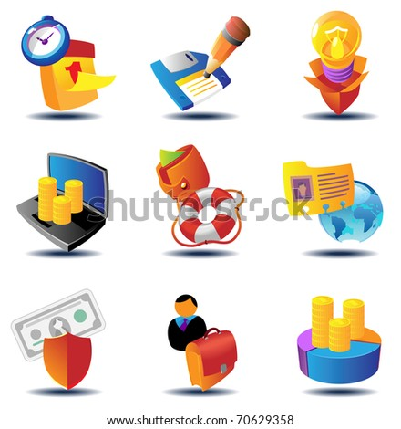 Business metaphor icons. Raster version. Vector version is also available. - stock photo