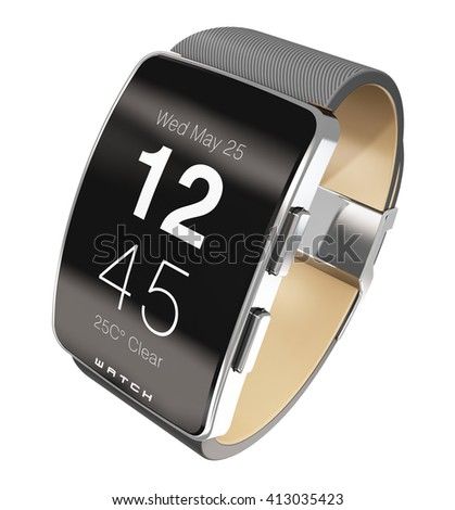 Business mobility, healthcare, healthy lifestyle and mobile wearable device technology concept: 3D render illustration of digital smart watch, clock or fitness tracker showing time isolated on white - stock photo