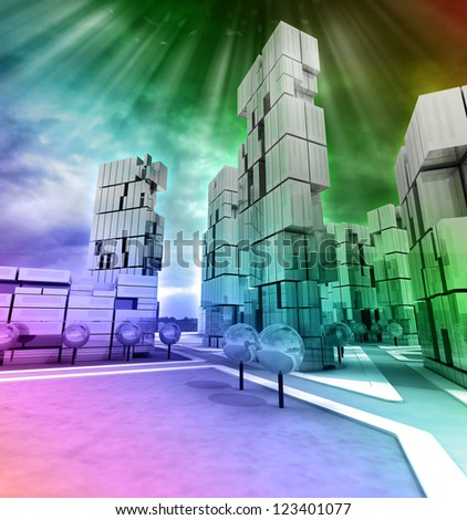 Business modern city rainbow colored with flare illustration - stock photo