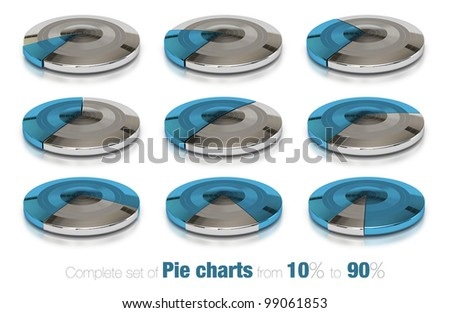 business modern pie charts over a white background with different percent value, ten, twenty, thirty, forty, fifty, sixty, seventy, eighty and ninety percentage numbers - stock photo