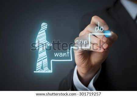 Business motivation concept. Mentor draw three steps to success.  - stock photo