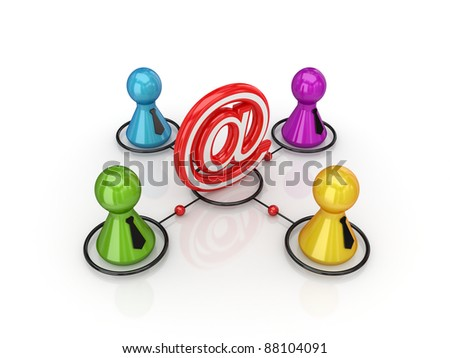 Business network concept.Isolated on white background.3d rendered. - stock photo