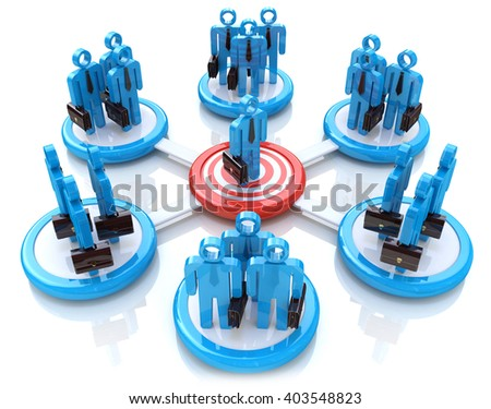 Business Network.3D Illustration - stock photo