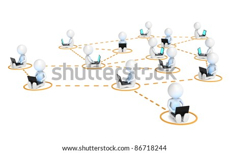 Business Network. 3D little human characters X14 in a network. Blue and illuminative Screens. Orange markers - stock photo