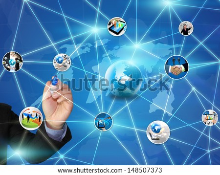 Business Network Design - stock photo
