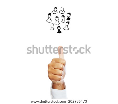 Business Network - Human hand showing thumb up isolated on a white background. - stock photo