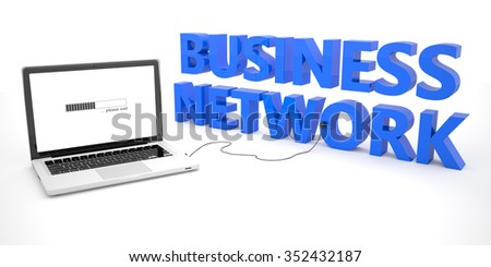 Business Network - laptop notebook computer connected to a word on white background. 3d render illustration. - stock photo