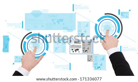 business, new technology and communication concept - close up of businessman working with virtual screen - stock photo