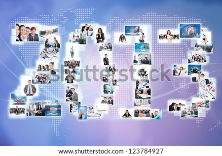 business 2013 new year concept collage businesspeople world map. International people communication - stock photo