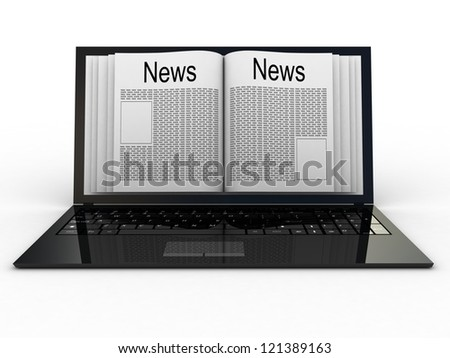 Business newspaper on laptop. Mobile device concepts 3D. isolated on white - stock photo