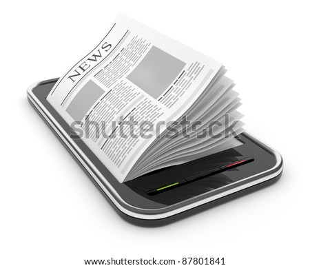 Business newspaper on smart  phone. Mobile device concepts 3D.  isolated on white - stock photo