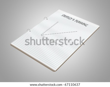 business notepad with a graph, planning and strategy - stock photo