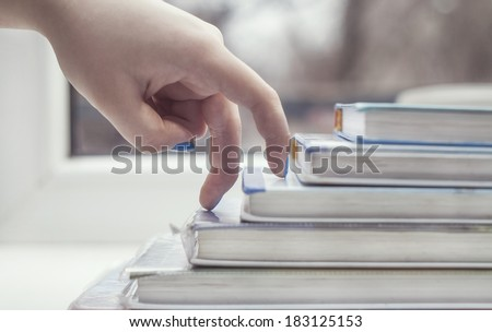 Business occupation - finger people moving step up - stock photo