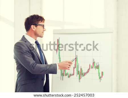 business, office and money concept - businessman in suit and black eyeglasses pointing to flip board with forex chart in office - stock photo