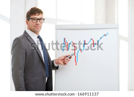 business, office and money concept - businessman pointing to forex chart on flip board in office - stock photo
