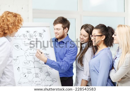 business, office and startup concept - smiling business team with flip board discussing plan in office - stock photo