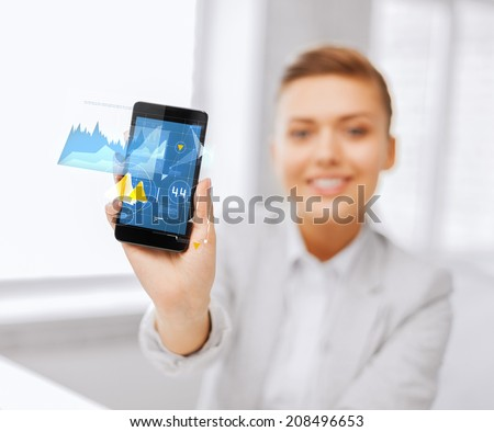 business, office and technology concept - close up of businesswoman showing graph on smartphone screen - stock photo