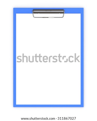Business office concept: clipboard with blank sheets of paper isolated on white background - stock photo