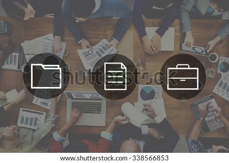 Business Office Folder Files Document Concept - stock photo