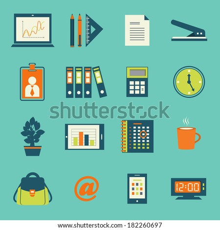Business office stationery icons set of smartphone tablet and notebook computer isolated  illustration - stock photo
