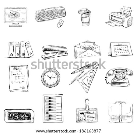 Business office stationery supplies icons set of computer keyboard printer and phone isolated sketch  illustration - stock photo