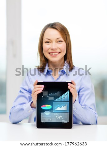 business, office, technology, advertising and internet concept - smiling businesswoman with tablet pc computer - stock photo