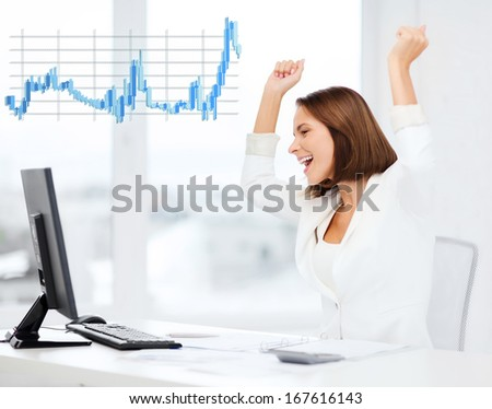 business, office, triumph, winning and mony concept - happy businesswoman with computer in office - stock photo