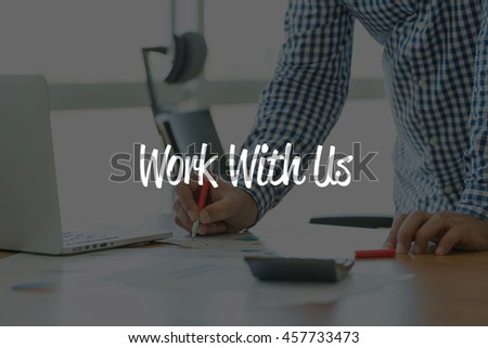 BUSINESS OFFICE WORKING COMMUNICATION WORK WITH US BUSINESSMAN CONCEPT - stock photo