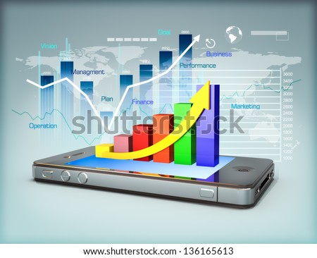 Business on a smartphone, Modern media touch screen technology, smartphone connecting information to the world, line graph business growth and finance concept. 3d model scene - stock photo