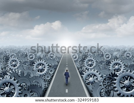 Business opportunity road concept and entrepreneur success symbol as a businessman walking on a straight path with machine gear and cogwheel machine parts as an industry production success metaphor. - stock photo
