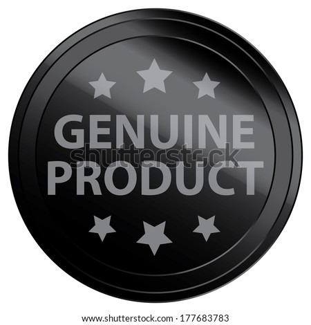 Business or Marketing Material For Promotional Sale or Marketing Campaign Present By Black Glossy Style Genuine Product Icon, Badge, Label or Sticker Isolated on White Background  - stock photo