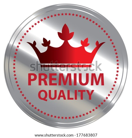 Business or Marketing Material For Promotional Sale or Marketing Campaign Present By Silver Metallic Style Premium Quality Icon, Badge, Label or Sticker Isolated on White Background  - stock photo